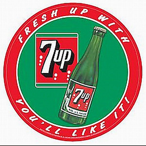 7 Up.  Fresh Up With 7 Up You'll Like It!  300mm round metal sign  (sf)