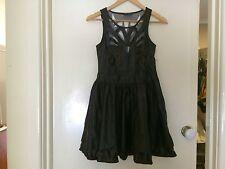 HUNT NO MORE Womens NEW Leather Look Black Gold Dress Size 10 BNWOT Vinal Skater
