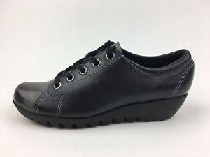 Munro American Dakota Lace Up Wedge Sneakers Womens Sz 8.5 N, Black Leather 2487