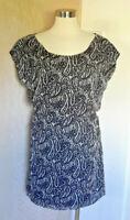 MM Couture Miss Me Short Sleeve Black White Paisley Silk Dress Size Medium