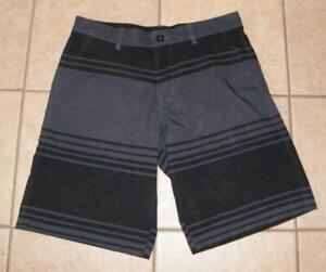 Mens Medium 32 / 34 Black & Gray Beach Pool Stretchy Board Shorts Swim Trunks OP