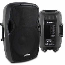 """Pair Active Powered 15"""" Inch PA Speaker System