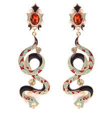 NEW Snake Green Black Red Enamel Crystal Pearl Pendant Zara Style Drop Earrings