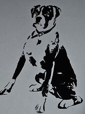 20CM SITTING BLACK BOXER STICKER DECAL BOXERS DOG DOGS COLLAR