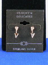 Lucky Brand Rose Goldtone Sterling Silver Pave' Triangle Ear Jacket Earrings