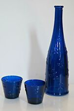 Cobalt Blue Glass Wine Bottle Vase Shot Raised Flower Votive Tea Light Candle