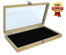 NEW Jewelry Display Box Natural Wood Glass Top Lid Black Pad Case Medals Awards