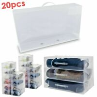 20x Shoe Box Transparent Storage Shoe Plastic Clear Organizer Stackable SB13