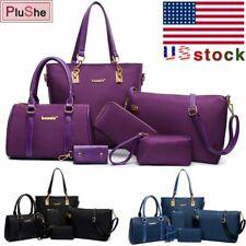 6Pcs/Set Women's Faux Leather Shoulder Bag Handbag Wallet Purse Tote Key Bag US