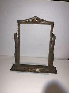 Vintage Art Deco Tabletop Picture Frame Swivel Tilt Swing w. Accents