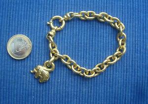F Gros Bracelet Or Massif 750 18K Grosse Maille Jaseron Elephant 19gr env. TBE