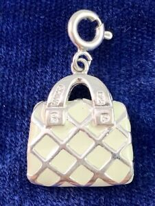 STERLING SILVER PURSE CHARM ENAMEL CHARM WITH CLIP 6 grams SILVER JEWELRY