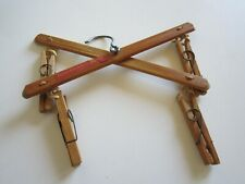 SMALL ANTIQUE GLOVE AND STOCKING DRYER--WOOD & ROPE