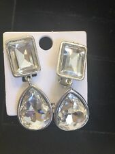GORGEOUS Crystal Rhinestone 2 in. Dangle GLAM Clip On Large Stone Earrings