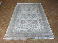 6 X 9 Hand Knotted Ivory & Gray Bamboo Silk Oushak Oriental Rug G2948
