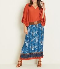 Crossroads Blue Paisley Elastic Waist Maxi Skirt With Split on Side Size 14
