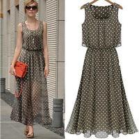 Women Sleeveless Polka Dot Boho Long Maxi Evening Beach Chiffon Dress Sundress