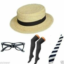 NEW GIRL STRAW BOATER HAT SCHOOL BOOK WEEK FANCY DRESS BLACK SOCKS TIE HEN NIGHT