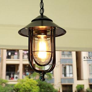 Industrial Loft Black Iron Cage Glass Shade 1 Lamp Exterior Porch Pendant Lights