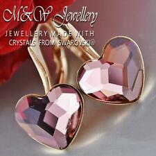 925 Silver Rose Gold Pl. Earrings Crystals From Swarovski® HEART - Antique Pink