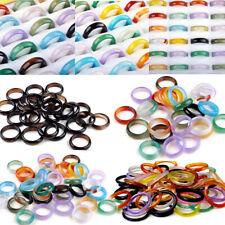 50/100pcs Wholesale Lots Fashion Band Ring Colorful Natural Agate Gemstone Rings