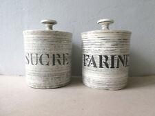 2 pots de cuisine en céramique, sucre et farine, Salins France, années 50
