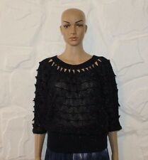 Dark Blue Glossy Knitted Slouch Batwing Sleeve Waist Length Top Blouse One Size