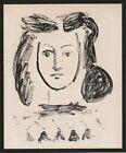 PICASSO 1956 LITHOGRAPH w/COA Vintage Pablo Picasso YOUNG GIRL portrait RARE ART