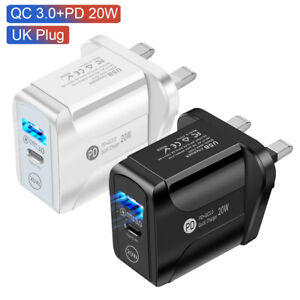 EU/UK Plug Type C Fast Wall Charger Adapter PD 20W LED For iPad iPhone12 Pro Max