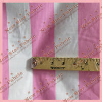 """POLY COTTON STRIPE 2 inch  Fabric 56"""" / 58"""" Width By The Yard Pink / White"""