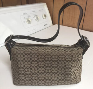 Women Coach Tan Leather Cloth Mini-C Signature Adjustable Strap Shoulder Handbag