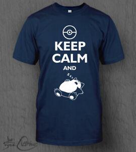 Pokemon T-Shirt Snorlax Keep Calm and Sleep Top MEN'S Nintendo Switch Pokémon