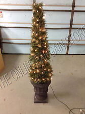 Frontgate 6' Lighted Cone Greenery Cyprus pre lite Ball Topiary Christmas Urn