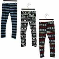New Ladies Winter Thick Fleece Fur Lined Patterned Leggings Pants Sizes S-XL