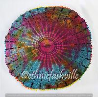 "Peacock Mandala Floor Pillows 32"" Round Meditation Cushion Cover Ottoman Pouf"