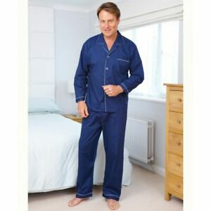 New Mens Champion Plain Poly Cotton Pyjamas Traditional Night Dress Navy Blue