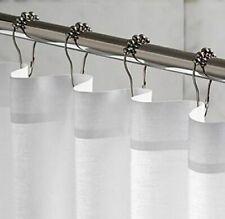 Set of 12 Siver Satin Roller Ball Shower Curtain Hooks Heavy Duty