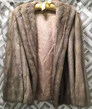 Vintage EMBA CERULEAN Beige Gray Sapphire Real MINK Fur Coat Stole Jacket
