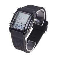 Flash Dual Time LCD Digital Date Day Alarm LED Men Boys Sport Wrist Watch G U2E3