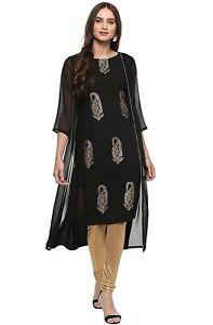 Women Casual A-line Jacket Style Gold Print Black Kurta Casual Traditional Dress