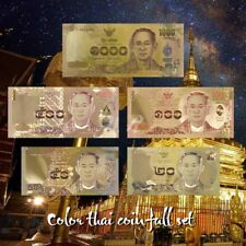 WR Colored Gold Foil Thailand Banknotes Set 5pcs Baht Series Completed Gifts