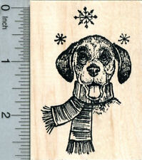Holiday Beagle Rubber Stamp, Dog Eating Snow K31506 Wm