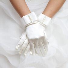 Satin Gloves With Bow Pretty Communion Gloves Bride Wedding Dress Girl White #J