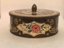 Daher Tin Box Round Metal Vintage England Brown Floral Biscuit Trinket Sewing