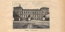 Stampa antica TORINO veduta di Palazzo Reale 1891 Old antique print