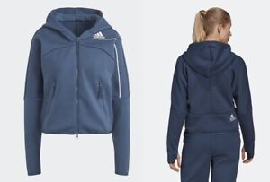 new adidas ZNE women's S or M blue ESSENTIALS HOODIE outdoor sport jacket Z.N.E.