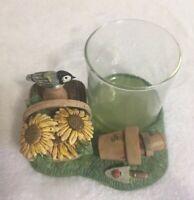Marjolein Bastin Hallmark Candle Holder Green Garden Bird Sunflower NEW