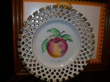 MID CENTURY WALES CHINA MADE IN JAPAN HAND PAINTED APPLE WALL PLATE RETICULATED