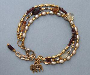 Garnet Hessonite Gold Pearl Triple Strand Elephant Charm Bracelet Handmade
