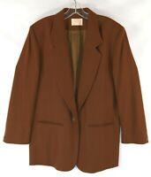 Pendleton Women's Brown Career Single Button Wool Blazer Coat Made USA Size 12